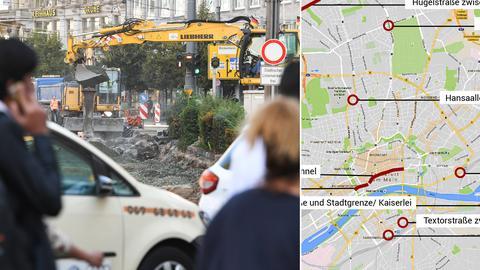 Fußgänger und Autos passieren eine Baustelle am Hauptbahnhof in Frankfurt. (Archivbild)