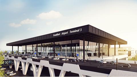Visualisierung - so wird die Einfahrt zum Terminal drei am Flughafen Frankfurt aussehen