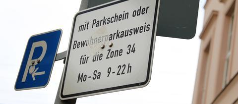 Hinweisschild Bewohnerparken