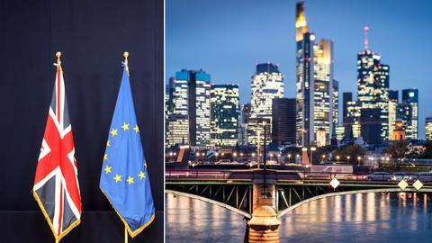 EU-Flagge, Großbritannien-Flagge und Frankfurter Bankenviertel.