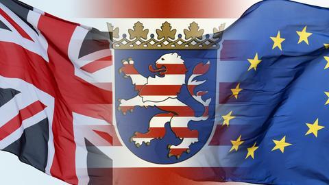 Der Hessenlöwe zwischen Union-Jack und Europafahne
