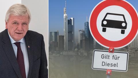 Collage: Volker Bouffier, Stadt Frankfurt im Dieselqualm