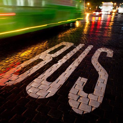 Aufschrift BUS auf der Straße