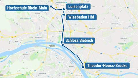 Die aktuell vorgesehene Linienführung der Citybahn in Wiesbaden.