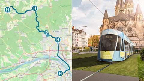 Collage; Links: Geplanter Streckenverlauf der Citybahn von Bad Schwalbach über Wiesbaden nach Mainz. Rechts: Modell der Straßenbahn in Wiesbaden