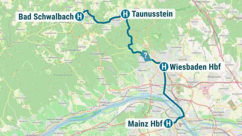 Karte, die den geplanten Streckenverlauf der Citybahn von Bad Schwalbach über Wiesbaden nach Mainz zeigt