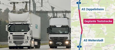 Oberleitungs-Lkw rollen über die A5