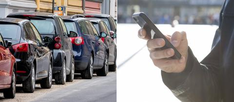 Collage: Autos parken am Straßenrand, Mann hält Handy in der Hand