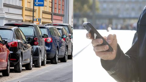 Collage: Autos parken am Straßenrand, Mann hält Handy in der Hand