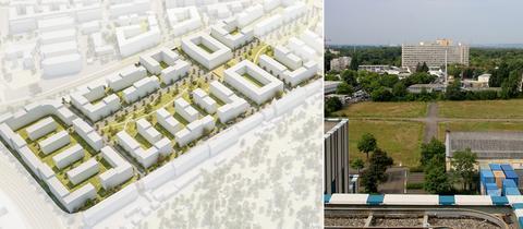 Collage aus dem Modell für das Schönhof-Viertel und einem Foto des Geländes