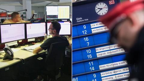 Collage: Blick in die Büros der Verkehrleitzentrale der Bahn in Frankfurt und Anzeigetafel mit Verspätungen
