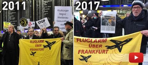 Demo im Terminal 1: Volker Hartmann (r.) mit Plakat 2011 und 2017
