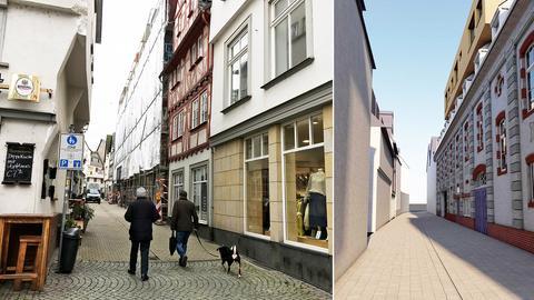 Die eingerüstete Fassade des Dom Hotels - und die Simulation, wie es aussehen soll.