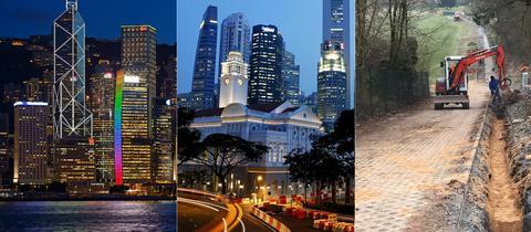 Was verbindet Hongkong, Singapur und Eichenzell? Vielleicht bald das schnelle Internet. Noch aber wird am Breitbandnetz in der osthessischen Gemeinde gebaut (rechts)