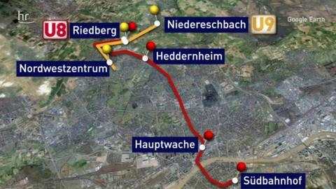 Streckenverlauf der U8 und U9 in Frankfurt