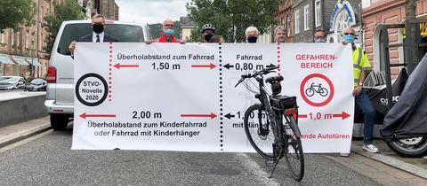 Menschen halten ein Transparent mit Markierungen, wie viel Abstand zu Fahrradfahrern einzuhalten ist.