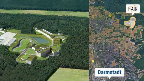 Das GSI Helmoltzzentrums für Schwerionenforschung: Modell und Standort in Darmstadt