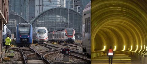 Schienen und Züge vor dem Frankfurter Hauptbahnhof / Eisenbahntunnel.
