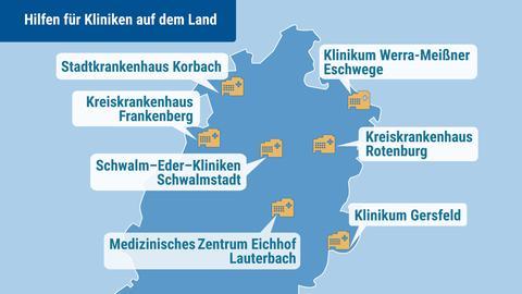 Diese sieben Kliniken in Hessen sollen zusätzliches Geld erhalten.