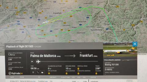 Flugbewegung des Condor-Flugs DE1503 von Palma nach Frankfurt