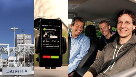 Die Firmenzentrale der Daimler AG in Stuttgart, Navigationssystem mit flinc Anfrage, die Flinc-Mitgründer Klaus Dibbern, Michael Hübl  und Benjamin Kirschner (von links)