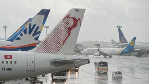 Der Frankfurter Flughafen im Regen