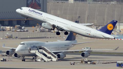 Flugzeug Start Frankfurter Flughafen