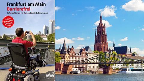Fotokombination aus einem Bild von einem Mann im Rollstuhl, der gerade fotografiert und einem Bild vom Frankfurter Dom und der umgebenden Stadt.