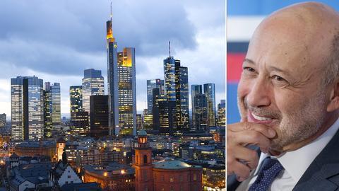 Frankfurter Skyline und Goldman-Sachs-Chef Lloyd Blankfein