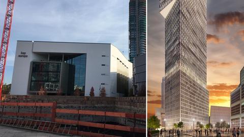 """Baustelle und Computerdarstellung des geplanten Hochhauses """"One"""" in Frankfurt"""