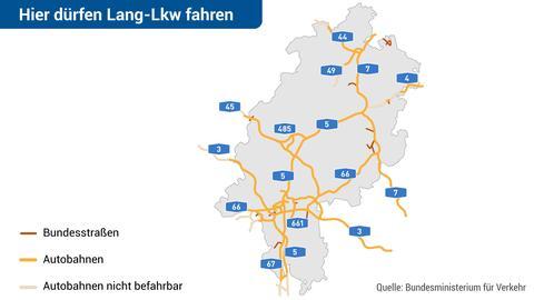 Autobahnen in Hessen, auf denen Lang-LKW fahren dürfen