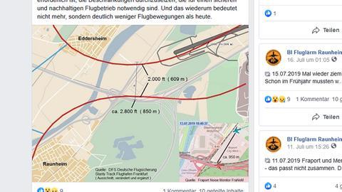 Grafik einer Bürgerinitiative am Flughafen, wonach sich zwei Lufthansa-Maschinen deutlich zu nah gekommen seien