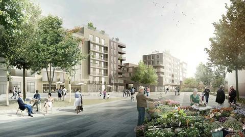 Simulation von Häusern im geplanten Neubaugebiet Günthersburghöfe
