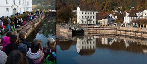 Hunderte Schaulustige beobachten die Flutung des historischen Hafenbeckens.