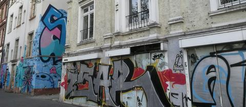 Leere Häuser Berger Straße.