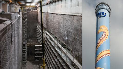 Derzeit leer: der Müllbunker des Frankfurter Heizkraftwerks - derzeit kalt: der Kamin