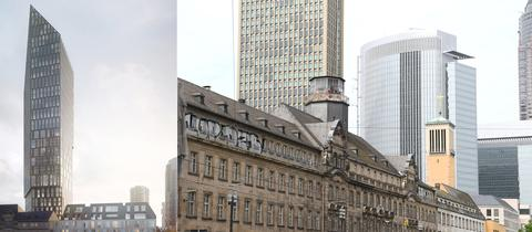 Links: So soll das neue Hochhaus aussehen. Rechts davon: das alte Polizeipräsidium.