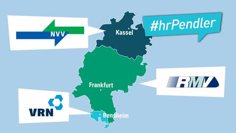 Die Grafik zeigt die Karte Hessen mit den drei Verkehrsverbünden des Landes.