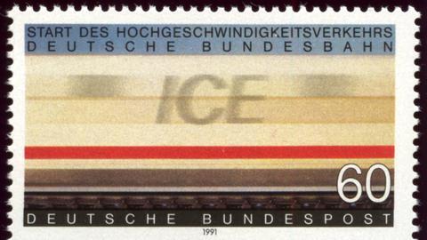 Briefmarke der Deutschen Bundespost zum Start des ICE 1991