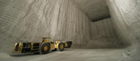 Kaliabbau in einem Bergwerk von K+S