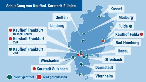 Die Karte zeigt die Standorte von Kaufhof- und Karstadt-Filialen in Hessen und diejenigen die geschlossen werden.