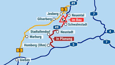 """Die Karte zeigt die Autobahnen A 49 und A5 und den geplanten """"Lückenschluss"""" dazwischen."""