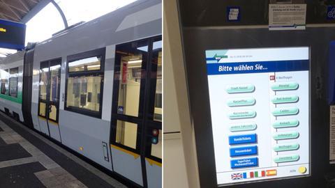 Bilder von einem Fahrkartenautomat und einer Tram in Kassel