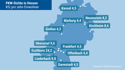 Die Grafik zeigt auf einer Hessenkarte die Dichte von Autos in hessischen Städten.