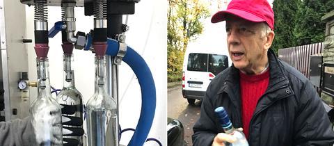 """Dieter Wierz mit seinem Quellwasser """"Radius 99"""""""