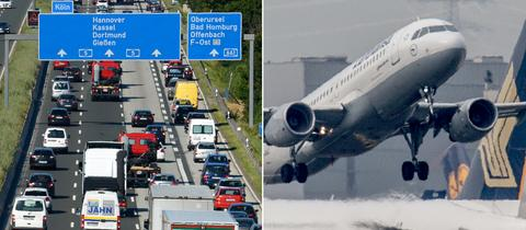 Bildkombo Autobahnstau, Flugzeuge