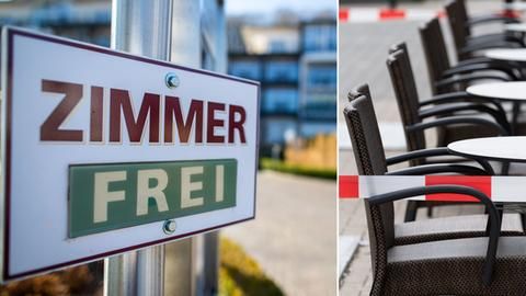 Bildkombo: Ein Schild vor einem Hotel zeigt freie Betten an, tische eine Cafés sind mit Absperrband umwickelt