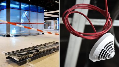 Bildkombo: Gebäuderohbau/ Rauchmelder mit Kabel