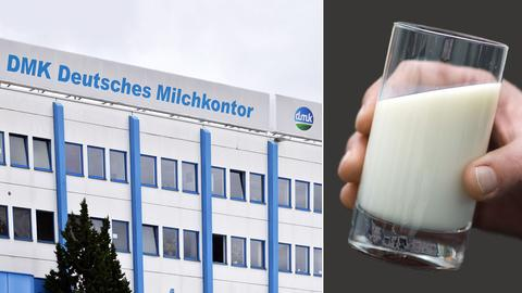 Eine Hand hält ein Glas Milch