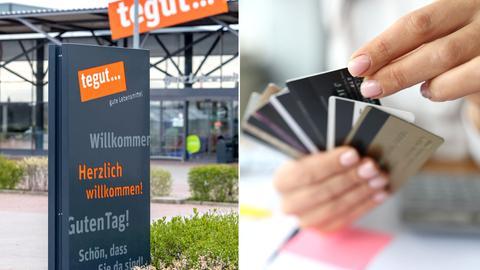 Das Willkommen-Schild einer Tegut-Filiale und die Hand einer Frau, die Kundenkarten hält.